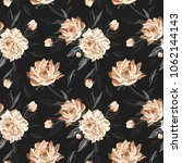 seamless  pattern with peonies. ... | Shutterstock .eps vector #1062144143