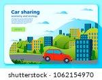 vector bright car share ride... | Shutterstock .eps vector #1062154970