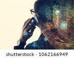 mobile communication concept. | Shutterstock . vector #1062166949