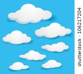 Cartoon  clouds. Illustration on blue background for design | Shutterstock vector #106217204