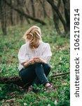 daydreamer woman relaxing in... | Shutterstock . vector #1062178214