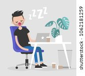 young exhausted employee... | Shutterstock .eps vector #1062181259