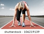 female sprinter waiting for the ...   Shutterstock . vector #106219139