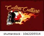 burning skull helmet emblem... | Shutterstock .eps vector #1062205514
