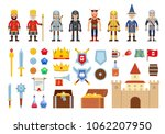 set of medieval characters and... | Shutterstock .eps vector #1062207950