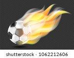 flying soccer ball in fire... | Shutterstock .eps vector #1062212606