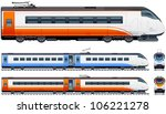 Passenger train in vector (Train #1). Pixel optimized. Elements (locomotives, carriages, rails) are in the separate layers. In the side, back and front views.
