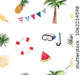 watercolor summer voyage set   Shutterstock . vector #1062214598