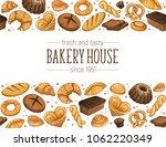 bakery house. horizontal border ... | Shutterstock .eps vector #1062220349
