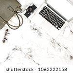 laptop  phone  bag  vintage... | Shutterstock . vector #1062222158