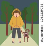 sleepy person walking the dog ... | Shutterstock .eps vector #1062239798
