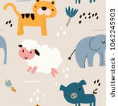 childish seamless pattern with... | Shutterstock .eps vector #1062245903