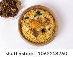 chicken biryani on white...   Shutterstock . vector #1062258260