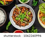 asian udon noodles with spicy... | Shutterstock . vector #1062260996