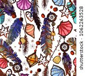 ethnic feather seamless pattern ... | Shutterstock .eps vector #1062263528