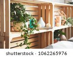 wooden drawer shelves with... | Shutterstock . vector #1062265976