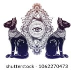 vintage egyptian cat with eye... | Shutterstock .eps vector #1062270473