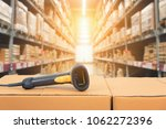 Barcode scanner in front of...