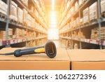 barcode scanner in front of... | Shutterstock . vector #1062272396