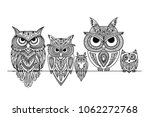 ornate owl  zenart for your... | Shutterstock .eps vector #1062272768