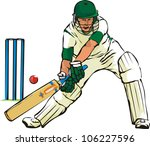 cricket   bat and ball game | Shutterstock .eps vector #106227596