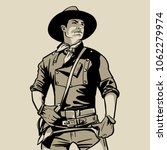man with cowboy hat and shirt... | Shutterstock .eps vector #1062279974