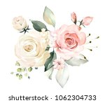 watercolor flowers. floral... | Shutterstock . vector #1062304733