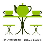 vector table with teapot and... | Shutterstock .eps vector #1062311396