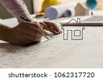 architect hands working on... | Shutterstock . vector #1062317720