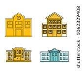 school icon set. color outline... | Shutterstock .eps vector #1062329408