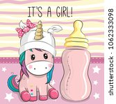 cute cartoon unicorn girl with... | Shutterstock .eps vector #1062333098