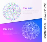 teamwork concept in circle with ... | Shutterstock .eps vector #1062344090
