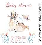 cute bohemian baby cartoon deer ... | Shutterstock . vector #1062373418