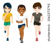 three young jogging diverse... | Shutterstock .eps vector #1062373793