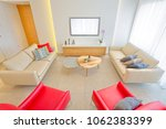 living room with leather...   Shutterstock . vector #1062383399