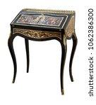 Small photo of French Ebonized Ladies Bureau Secretary Desk with Brass and Tortoise shell Inlay