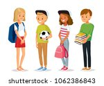 vector set of teenagers | Shutterstock .eps vector #1062386843