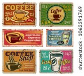 vintage coffee shop and cafe... | Shutterstock . vector #1062391769