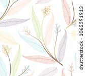 seamless pattern with leaves.... | Shutterstock .eps vector #1062391913