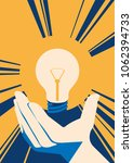 lightbulb in hand with glow.... | Shutterstock .eps vector #1062394733