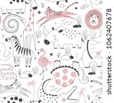 safari animals pattern  summer... | Shutterstock .eps vector #1062407678