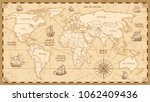antique world map with... | Shutterstock . vector #1062409436