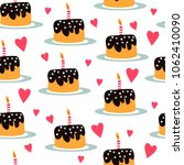 birthday cake with candle lit.... | Shutterstock .eps vector #1062410090