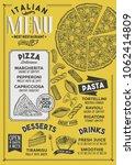 pizza restaurant menu. vector... | Shutterstock .eps vector #1062414809