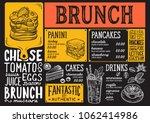 brunch restaurant menu. vector... | Shutterstock .eps vector #1062414986