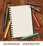 artist table objects top view...   Shutterstock .eps vector #1062442724