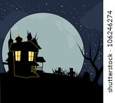 halloween silhouettes mansion... | Shutterstock .eps vector #106246274