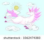 magic fantasy pink unicorn... | Shutterstock .eps vector #1062474383