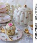 Vintage Pink Rosebud Cupcake O...