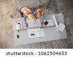top view of architects and... | Shutterstock . vector #1062504653